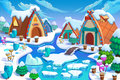 Illustration: The Human Being's Cottages in the Snow Land in the Great Ice Age! Cabin, Fence, Plant, Ice River.