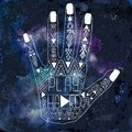 Illustration of human hand with Aztec pattern Royalty Free Stock Photo