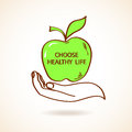 Illustration of human hand holding apple concept healthy life Royalty Free Stock Photo