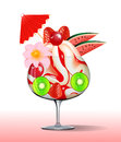 Illustration of ice cream with strawberry kiwi cherry tree and flower Stock Photography