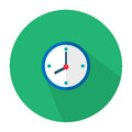 The illustration is an icon as a blue wall clock hanging on the wall. Can be used in various media.