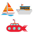An illustration of icon set of different modes of travel on water on white