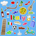 Illustration with Icons set of patches on the journey to the country of Italy, simple color icons on blue background