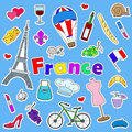 Illustration with Icons set of patches on the subject of travel to the country of France on a blue background