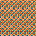 Half circle 3d rainbow color symmetry seamless pattern