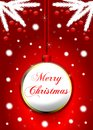 Illustration ideal for christmas greeting cards with decorated balls wit the word merry christmas on it and two white branches Royalty Free Stock Photo