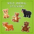 Illustration of cute cartoon bears on stickers
