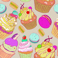 Illustration with the image of cakes. Bright multi-colored pattern on a gray background. Vector