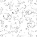 Illustration with the image of cats, fish and tangles thread. black white pattern. Vector