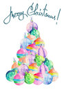 Illustration (image) of Christmas tree of watercolor colored Christmas balls Royalty Free Stock Photo