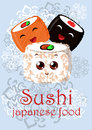 Illustration with the image of Japanese food - sushi