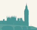 Illustration image of london famous architectural monuments and landmarks Stock Photo