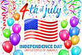 Illustration of Independence Day Vector Poster. 4th of July Lettering. American Red Flag on Blue Background with Stars and Confett