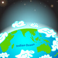 Illustration of indian ocean on earth vector Stock Photography
