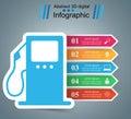 Illustration Infographic. Petrol, gas station icon.