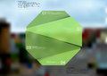 Illustration infographic template with green octagon randomly divided to four parts