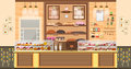 Illustration interior of bake shop, bake sale, business of baking sales, bakery and baking for production of bakery
