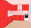 Illustration interior kitchen red Royalty Free Stock Photos