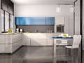 illustration of interior of modern kitchen in white blue gray Royalty Free Stock Photo