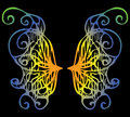 Illustration. Iridescent wings of a butterfly on a black backgro Royalty Free Stock Photo