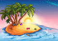 Illustration island with palm trees and treasure in the midst of the ocean Stock Photo
