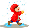 Illustration of isolated boy in the rain on white Stock Photos