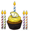 Illustration of an isolated cupcake and candles on a white background Royalty Free Stock Photos