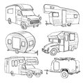 Illustration of isolated Hand Drawn, doodle Camper, car
