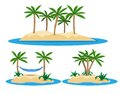 Illustration of isolated island with palm trees and hammock Royalty Free Stock Photo