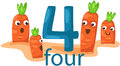 Illustration of isolated number character with carrots Stock Photography