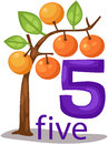 Illustration of isolated number character with orange tree Royalty Free Stock Photo