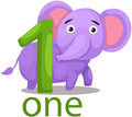Illustration of isolated number one character with elephant Stock Image