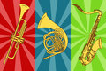 Illustration with isolated trumpets and saxophone on a colorful background Royalty Free Stock Image