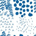 Japanese blue style drawing abstract four season seamless pattern