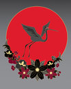 Illustration japanese crane flying above black gold red stylized flowers front big red sun Royalty Free Stock Image