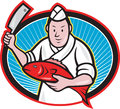 Illustration of a japanese fishmonger butcher chef cook with knife holding red fish on isolated background Royalty Free Stock Photography