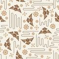 Japanese Mon Koi fish icon style seamless pattern Royalty Free Stock Photo