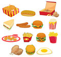 Illustration of junk food on w Stock Photos