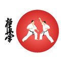 Illustration on karate with the image of two men of engaged Royalty Free Stock Photo