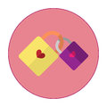 The illustration is a 2 key icons together.Yellow key with purple.Key Heart.