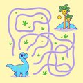 Help little dino find the right path to palm. Labyrinth. Funny maze game for children.