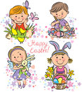 Illustration kids celebrate Easter Stock Photography