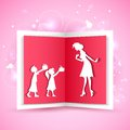 Illustration of kids giving gift to mother on mother s day Royalty Free Stock Image