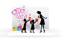 Illustration of kids giving gift to mother on mother s day Stock Photography