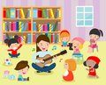 Illustration of Kids Listening to Their Teacher Play the Guitar in the classroom. Flat design.