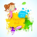 Illustration kids playing holi color balloon Royalty Free Stock Image