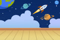 Illustration: Kids Room with Planets Painted on the Wall. Royalty Free Stock Photo