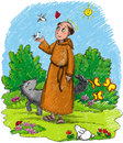 Illustration kids saint francis wood wild animals wolf rabbit birds cute insects Stock Image