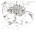 Illustration with lake house sketch Royalty Free Stock Image