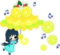The illustration of lemons and girls